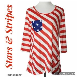 Red White Blue Stars Stripes Flair Flag Size Lrg